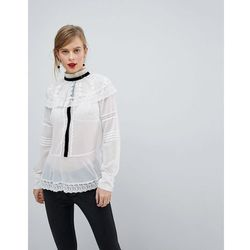 ASOS DESIGN Premium Historical Lace Blouse with Contrast Detail - White
