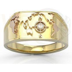 Sygnet Morski z żółtego i różowego złota z brylantem SJ-1406ZP - Żółte i różowe