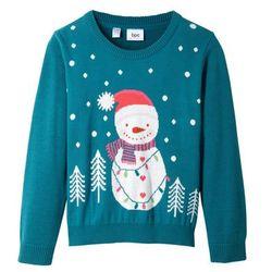 Sweter bożonarodzeniowy bonprix morski turkusowy