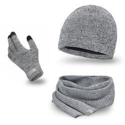Komplet męski PaMaMi - czapka, szalik, rękawiczki - Jasnoszara mulina