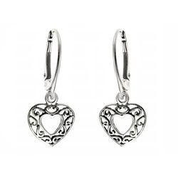 Eleganckie wiszące ażurowe srebrne kolczyki serca serduszka heart srebro 925 K1935