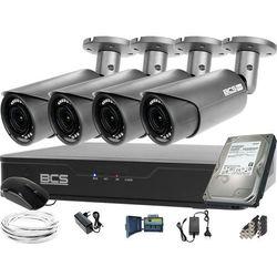 Monitoring BCS 4 kamery tubowe Full HD Zoom Zestaw rejestrator kamery dysk 1TB akcesoria BF