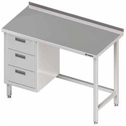 Stół przyścienny z blokiem trzech szuflad po lewej stronie 1000x600x850 mm | STALGAST, 980366100