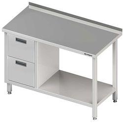 Stół przyścienny z blokiem dwóch szuflad po lewej stronie i półką 1500x700x850 mm | STALGAST, 980267150