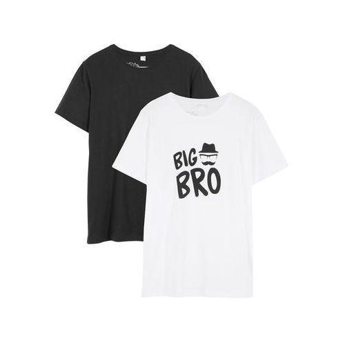 Koszulki z krótkim rękawkiem dziecięce, T-shirt (2 szt.) bonprix biało-czarny