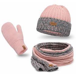 Komplet PaMaMi, czapka, komin, rękawiczki - Pudrowy róż