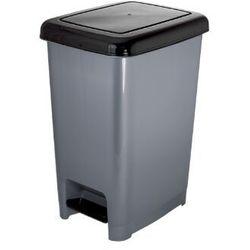Kosz na śmieci 60 litrów z pokrywą otwieraną pedałem grafitowo-czarny