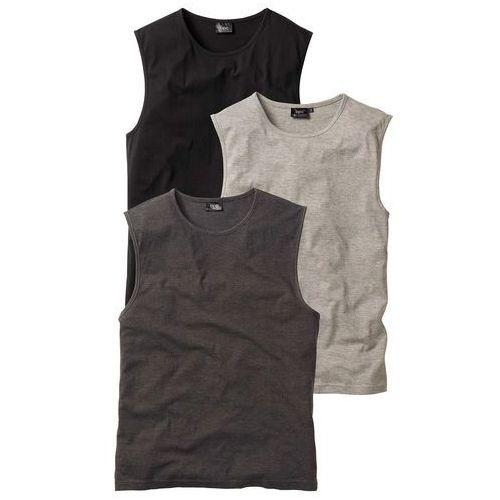 Podkoszulki męskie, Shirt bez rękawów (3 szt.) bonprix antracytowy melanż + jasnoszary melanż + czarny