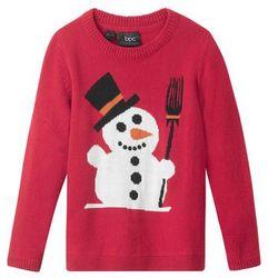 Sweter chłopięcy bożonarodzeniowy z motywem bałwanka bonprix ciemnoczerwony