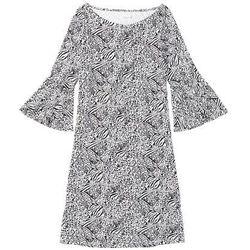 Koszula nocna z rękawami z falbanami bonprix czarno - jasnoszary wzorzysty