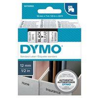 Papiery fotograficzne, DYMO Tape cassette dymo d1 12mmx7m black/clear 45010