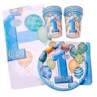Balony, Zestaw na roczek dla chłopczyka 1st Boy Birthday Baloniki Blue - 25 elementów
