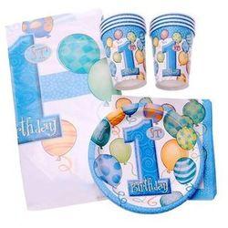 Zestaw na roczek dla chłopczyka 1st Boy Birthday Baloniki Blue - 25 elementów