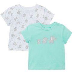 Koszulka niemowlęca (2 szt.), bawełna organiczna bonprix miętowo-jasnoszary melanż