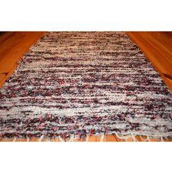 Chodnik bawełniany\pled ręcznie tkany czarno-biało-szaro-bordowy 65x120