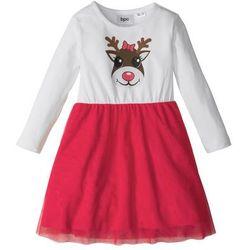 Świąteczna sukienka tiulowa bonprix biel wełny - czerwony z nadrukiem