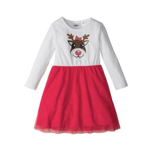 Sukienki dziecięce, Świąteczna sukienka tiulowa bonprix biel wełny - czerwony z nadrukiem