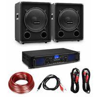 Głośniki i monitory odsłuchowe, Electronic-Star Zestaw składający się ze wzmacniacza Hi-Fi i kolumn, wzmacniacz 2 x 350 W, 2 x 10-calowa kolumna, 400 W RMS
