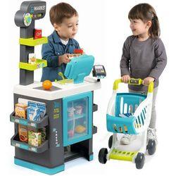 Smoby supermarket sklep dla dzieci City Market wózek sklepowy kasa 39 akc. 350218