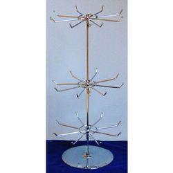 Obrotowy, trzypoziomowy, metalowy stojak do prezentacji np. biżuterii - chromowany