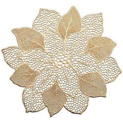 Złota podkładka koronkowa z kształcie kwiatka, podkładki pod talerze, podkładki na stół nowoczesne, podkładki na stół okrągłe, ZELLER