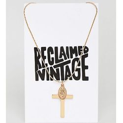 Reclaimed Vintage Inspired Cross And Charm Pendant Necklace (+) - Gold