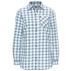 Koszula w kratę, z efektem wytarcia, długi rękaw bonprix niebiesko-biały w kratę