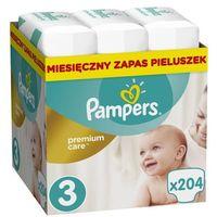Pieluchy jednorazowe, PAMPERS Premium Care 3 MIDI 204 szt. (5-9 kg) ZAPAS NA MIESIĄC - pieluchy jednorazowe