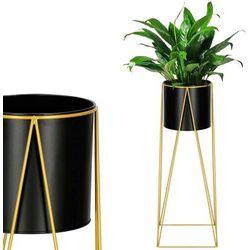 Stojak na kwiaty 70 cm z doniczką nowoczesny kwietnik loft czarno-złoty mat