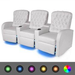 vidaXL Fotele rozkładane z LED dla 3 osób, ze sztucznej skóry, białe Darmowa wysyłka i zwroty