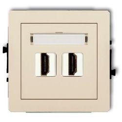Gniazdo podwójne HDMI 1DHDMI-2, beżowy KARLIK DECO