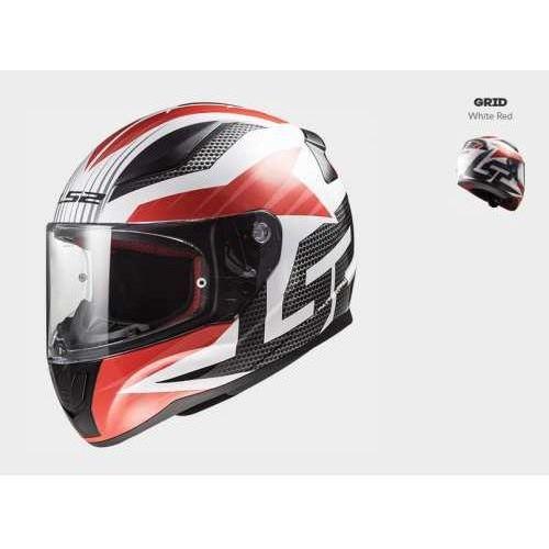Kaski motocyklowe, KASK MOTOCYKLOWY KASK LS2 FF353 RAPID GRID WHITE RED Nowość 2019!