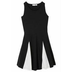 Sukienka dziewczęca z dżerseju z wstawkami, bawełna organiczna bonprix czarno-biel wełny