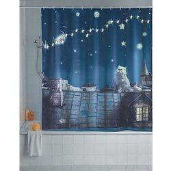 Zasłona prysznicowa, tekstylna MOON CAT z oświetleniem LED, 180 x 200 cm, WENKO