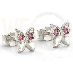 Kolczyki motylki z białego złota z różowymi cyrkoniami BPK-88B-C - Białe