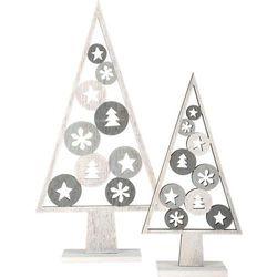 Drewniane choinki - dekoracja świąteczna - 2 szt