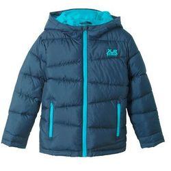 Ocieplana kurtka pikowana chłopięca z kapturem bonprix ciemnoniebiesko-turkusowy