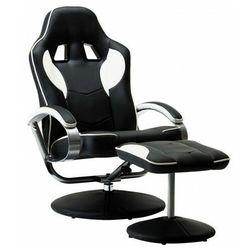 Czarno-biały ergonomiczny fotel z podnóżkiem - Endy
