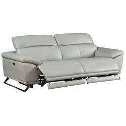 3-osobowa elektryczna sofa relaksacyjna ze skóry AZIDEE - Kolor jasnoszary