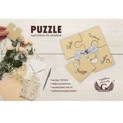 Puzzle - zaproszenia ślubne dla świadków - cyfrowy druk UV - ZAP013