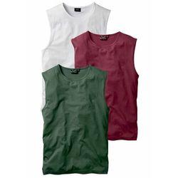 Shirt bez rękawów (3 szt.) bonprix bordowy + ciemnozielony + biały