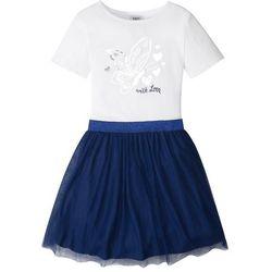 Sukienka z tiulową częścią spódnicową bonprix biało-kobaltowy
