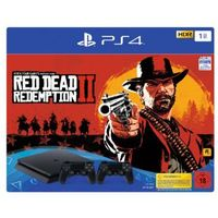 Akcesoria do PlayStation 3, Sony PlayStation 4 Slim Black - 1TB (Red Dead Redemption 2 Bundle - 2 Dual Shock)