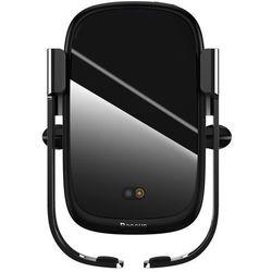Baseus Rock elektrycznie zamykany uchwyt samochodowy bezprzewodowa ładowarka Qi 10W z czujnikiem podczerwieni czarny (WXHW01-01) - Czarny