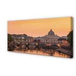 Obrazy na płótnie Rzym Zachód słońca mosty rzeka budynki