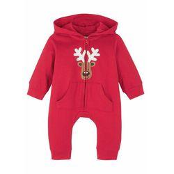 Kombinezon dresowy niemowlęcy w bożonarodzeniowym stylu, bawełna organiczna bonprix czerwony