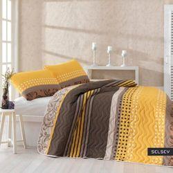 SELSEY Narzuta Sandy 160x220 cm z poszewką na poduszkę 50x70 cm żółto-brązowa