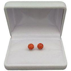 Kolczyki srebrne okrągłe pomarańczowe cyrkonie SKK21