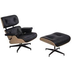 Fotel Vip z podnóżkiem czarny/natural oak/standard base