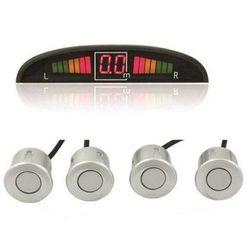 Zestaw Czujników Parkowania: 4-Sensory (srebrne) + Wyświetlacz LED + Sygnalizacja Dźwiękowa.